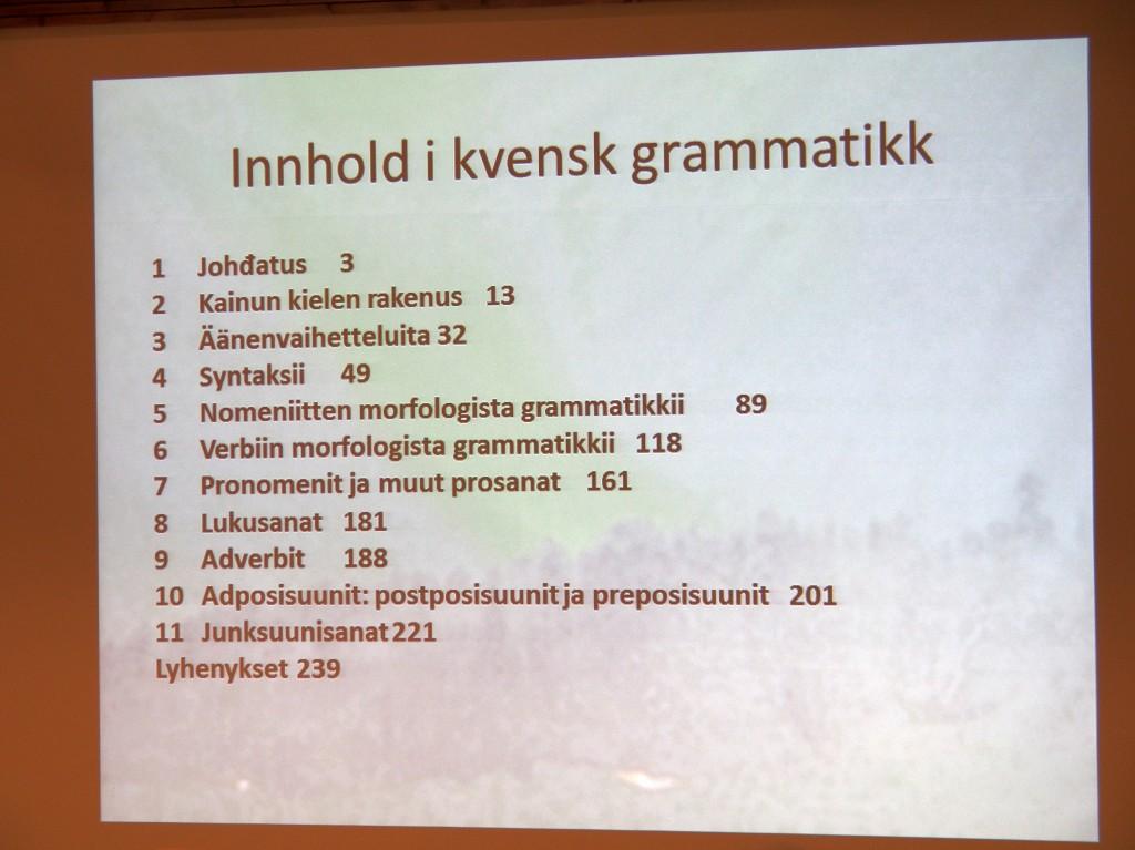 Innholdsoversikt i Kainun kielen grammatikki