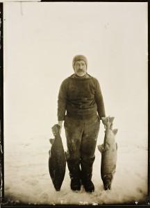 Adolf Lindstrøm (1866-1939) med prøver av fisken på King William Island KUVA NASJONALBIBLIOTEKET