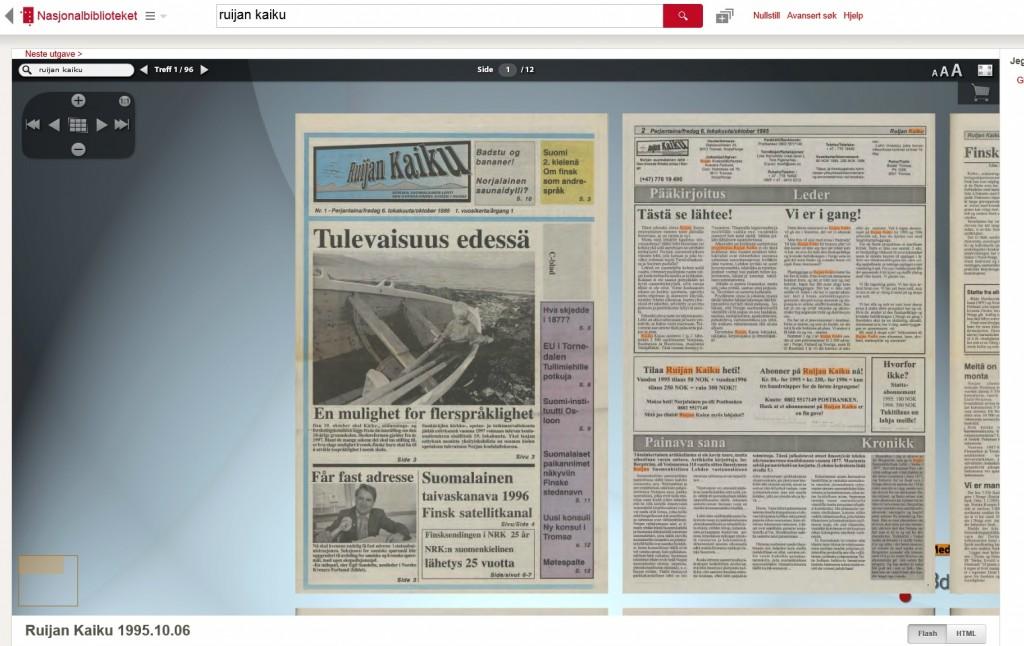 Skjermdump av førstesiden av den første utgaven av Ruija Kaiku slik man nå kan se den på Nasjonalbibliotekets nettsider.