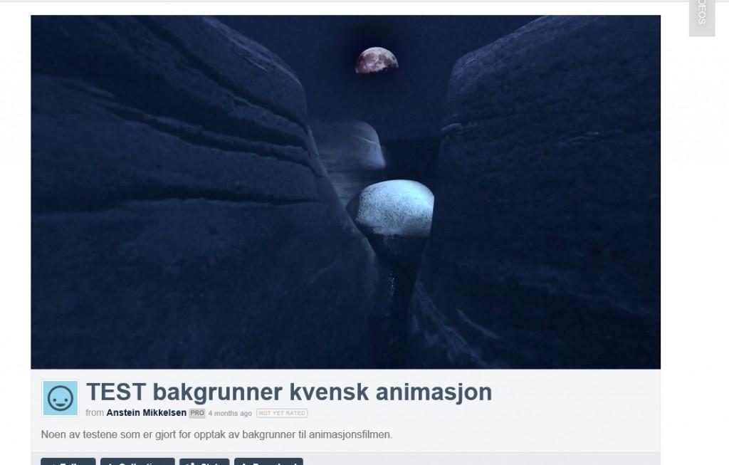 Skjermdump fra prøveopptak fra Anstein Mikkelsens kvenske animasjonsfilm