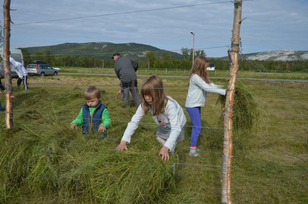 Tvillingene Silje og Elise Nymoen Martinsen og lillebror Joakim syntes det var stor stas å hesje.