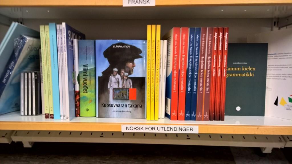 """Kvensk litteratur har i flere måneder vært merket som """"Norsk for utlendinger"""" på universitetetes bokhandel i Tromsø. KUVA ANONYM TIPSER"""
