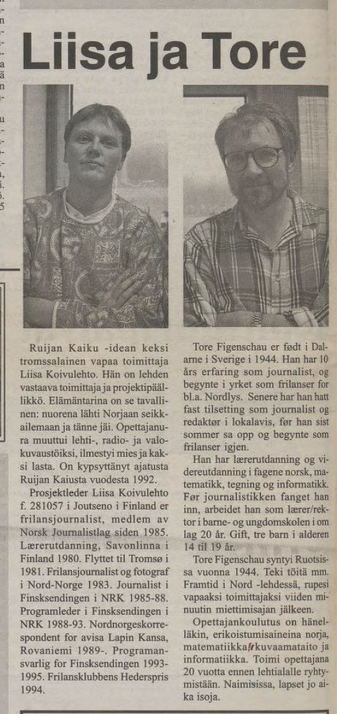 Liisa Koivulehto og Tore Figenschau på sistesiden i den aller første utgaven av Ruijan Kaiku. FAKSIMILE