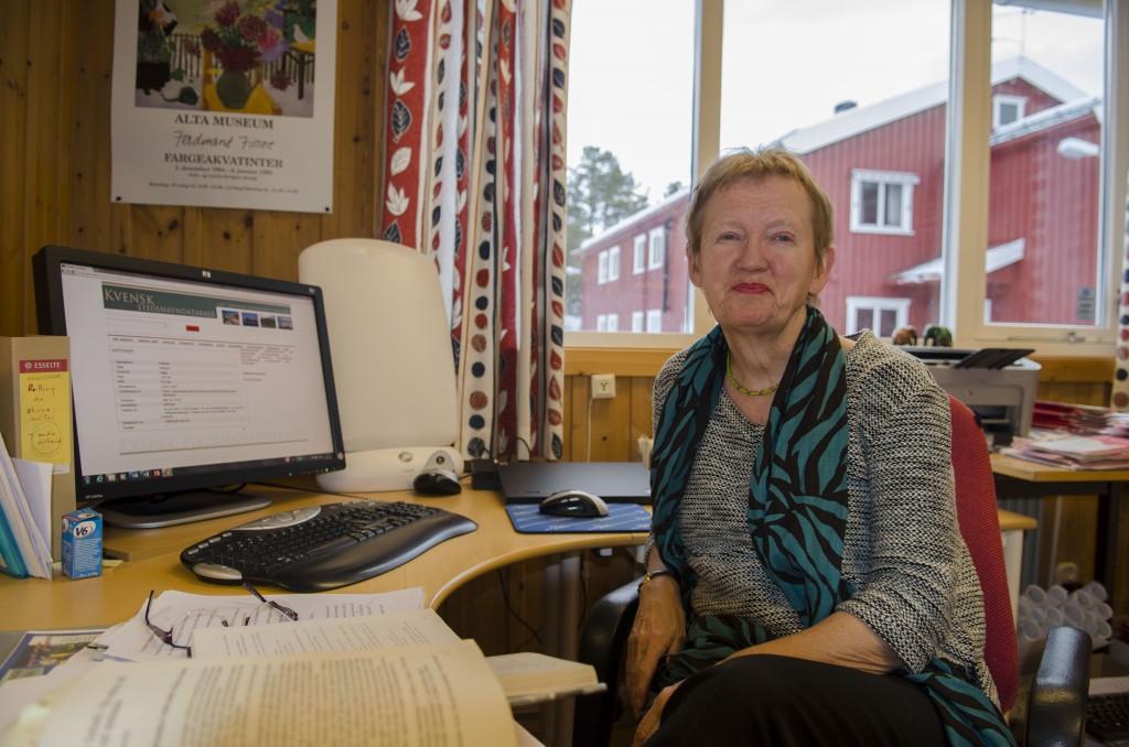 Irene Andreassen er egentlig pensjonist, men jobber videre med den kvenske stedsnavntjenesten. KUVA HEIDI NILIMA MONSEN