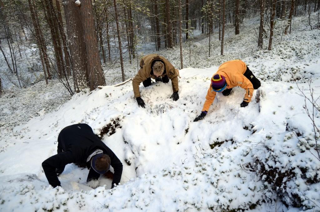 Tirsdag måtte deltakerne på tjæremilsbefaringen grave bort snø fra tjæremila. Til sommeren er det planlagt at Statnett begynner sin graving der. KUVA HEIDI NILIMA MONSEN
