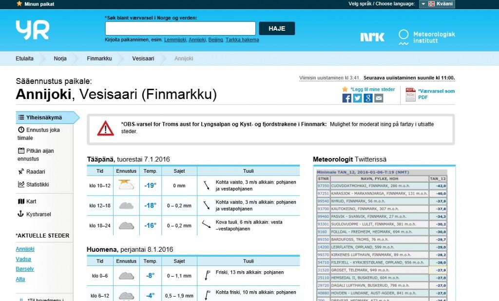 skjermdump fra yr.no
