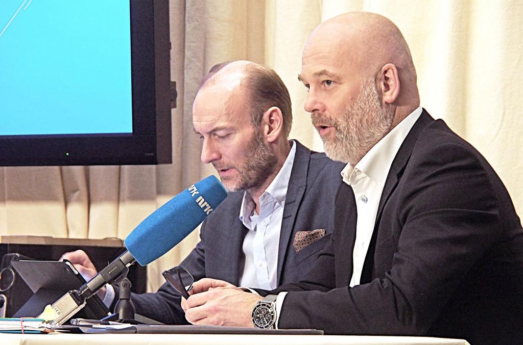 Leder i Mediemangfoldsutvalget Knut Olav Åmås og utvalgsmedlem, kringkastingssjef Thor Gjermund Eriksen.