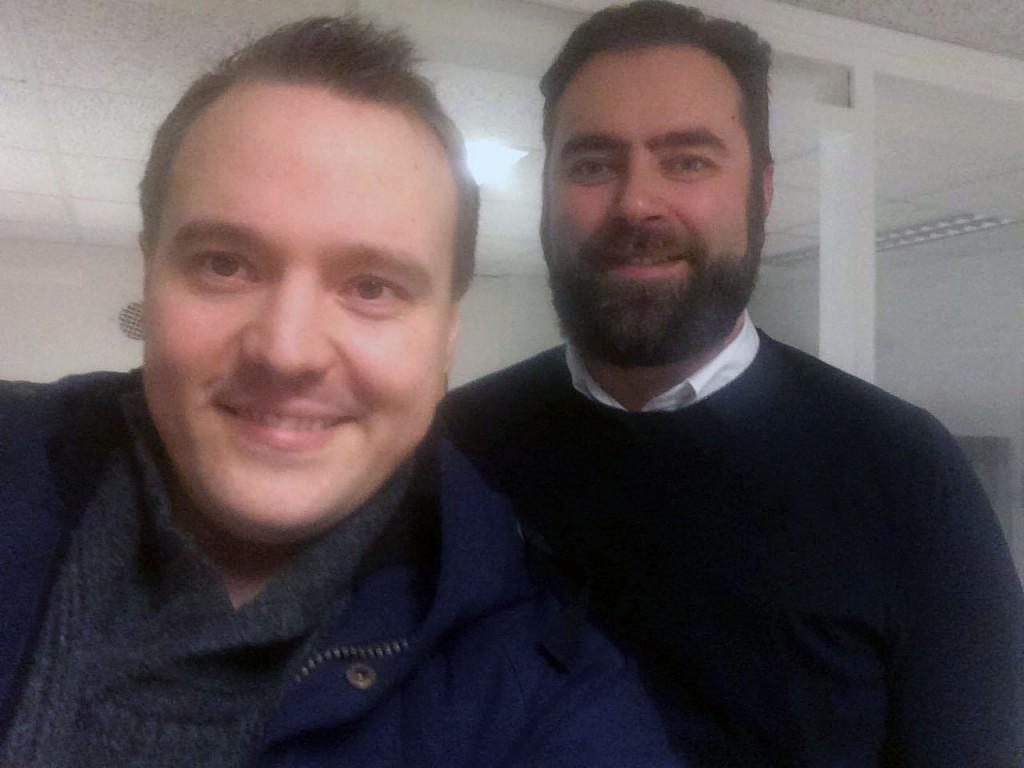 Eskild Johansen sammen med makker Jorg Hauan jobber for tiden med et kvensk data-spill. KUVA: PRIVAT