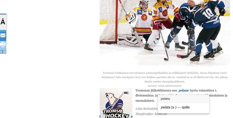 Ruijan-kaiku.no med innebygd kvensk-norsk ordliste