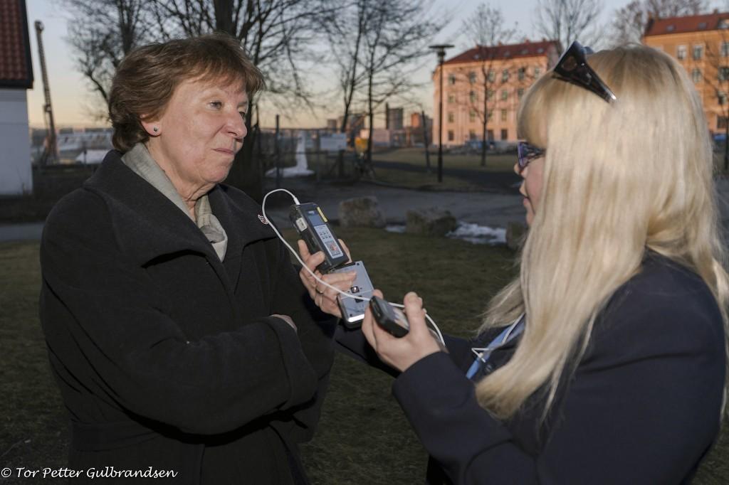 Osloordfører Marianne Borgen ble intervjuet av NRK Finsksendinga. KUVA TOR PETTER GULBRANDSEN