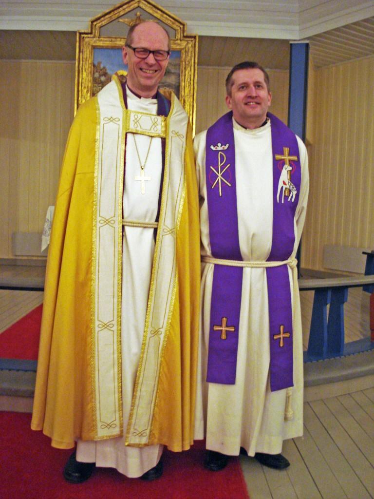 Biskop i Nord-Hålogaland Olav Øygard og prest i Porsanger Arne Skare