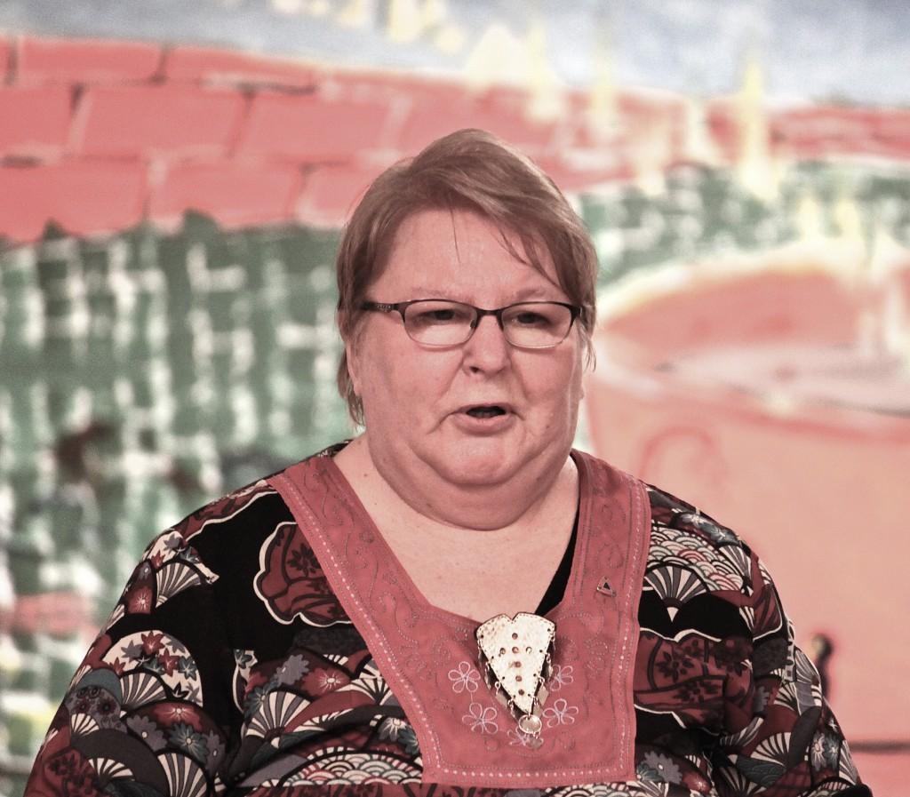 Dagens foreleser Hilde Skanke fra Kvensk Institutt kunne ikke komme da fjellovergangene var stengt, så Grete Alise måtte på sparket trå til. Hun ga de fremmøtte en flott skildring av gammel norsk historikk.