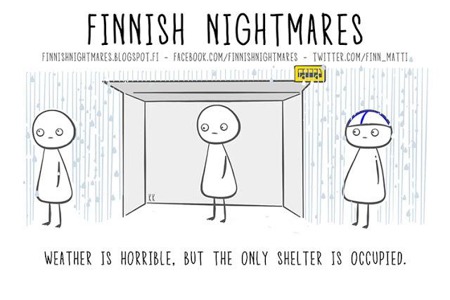 Finnish Nightmares -sarjakuvan Matti ahdistuu monenlaisissa sosiaalisissa tilanteissa. Itseironia uppoaa yleisöön, sillä Matista tuli lyhyessä ajassa supersuosittu. KUVA KAROLIINA KORHONEN
