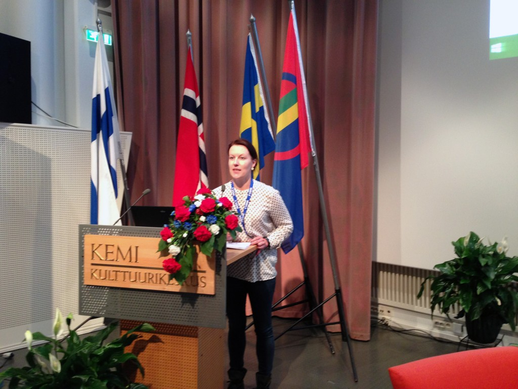 Hilja Huru på Nordkalottkonferansen i Kemi. KUVA BEATHE WILHELMSEN