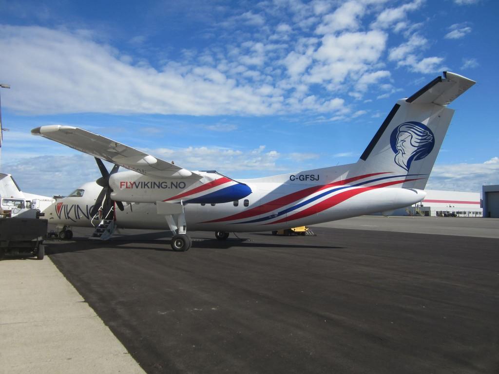 Kvenkongen Faravid pryder FlyVikings aler første fly. KUVA FLYVIKING
