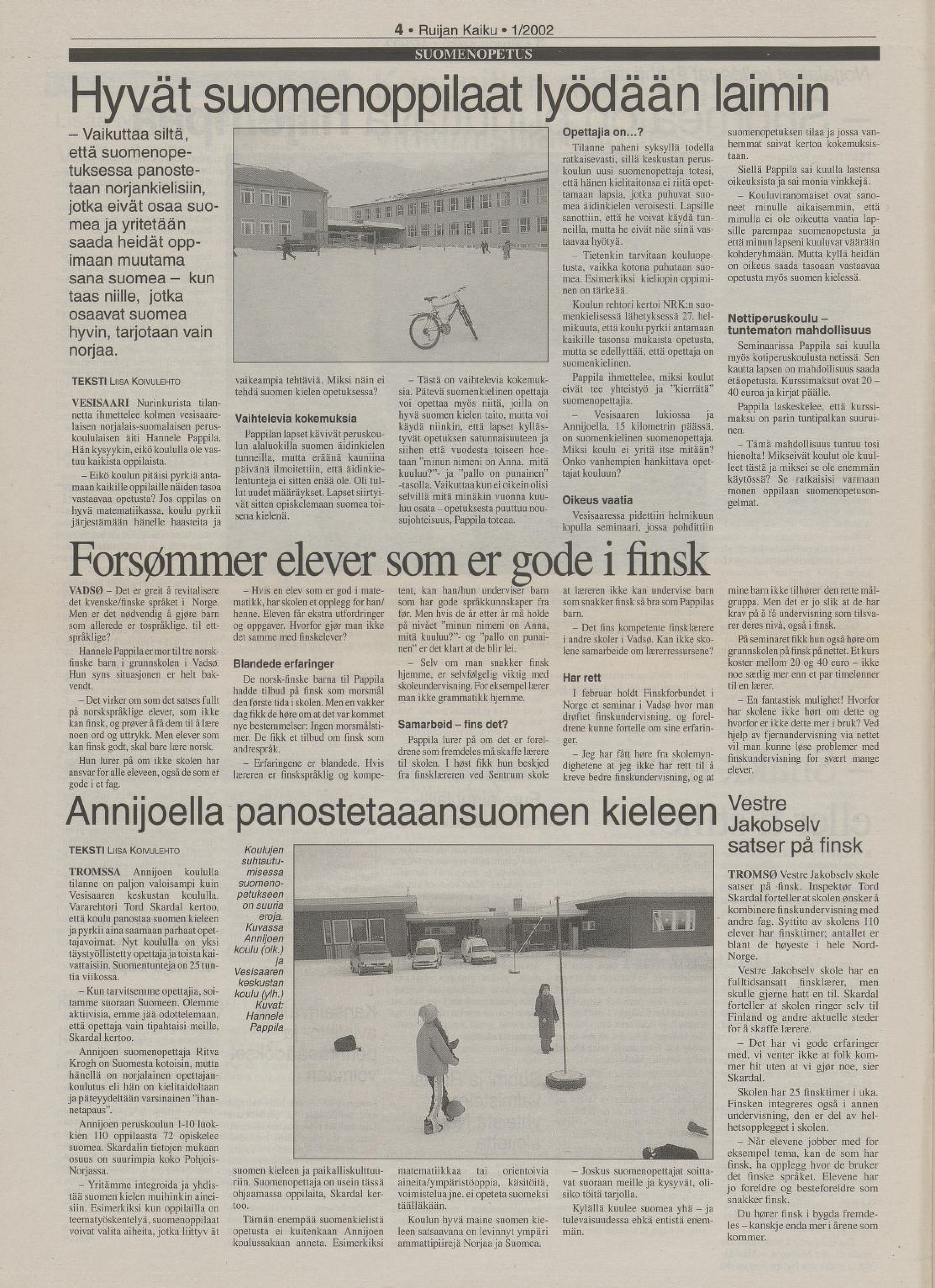 Fra arkivet: Forsømmer elever som er gode i finsk